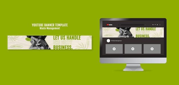 Modelo de design de banner do youtube para gerenciamento de resíduos