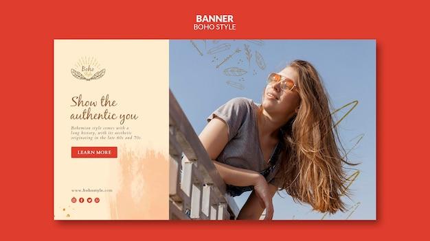 Modelo de design de banner estilo boho