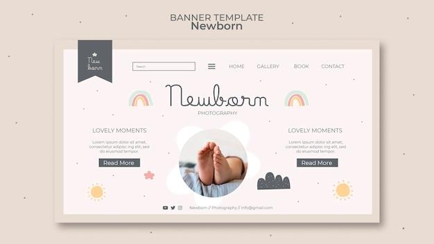 Modelo de design de banner para bebê recém-nascido