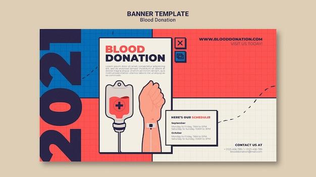 Modelo de design de banner para doação de sangue