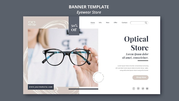 Modelo de design de banner para loja de óculos