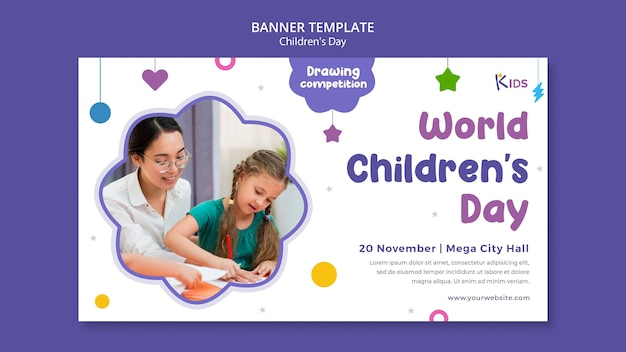 Modelo de design de banner para o dia das crianças
