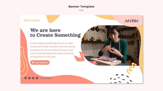 Modelo de design de banner para oficina de arte