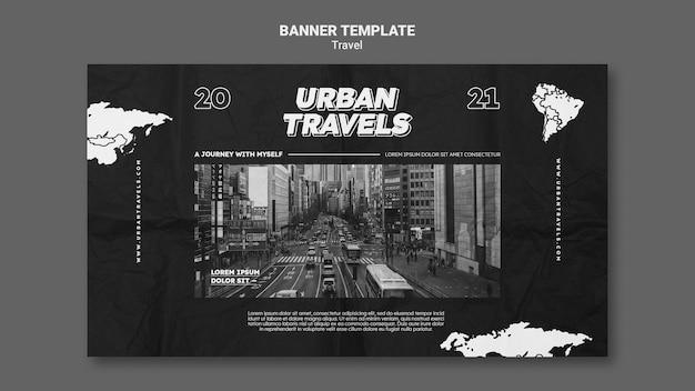 Modelo de design de banner para viagens urbanas