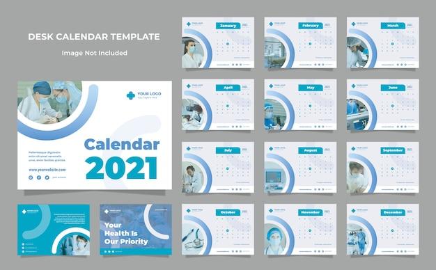 Modelo de design de calendário de mesa de saúde médica