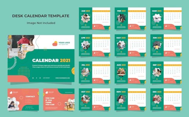 Modelo de design de calendário de mesa educacional