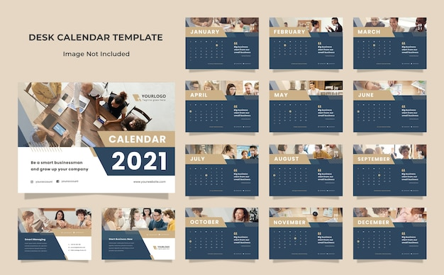 Modelo de design de calendário de mesa empresarial