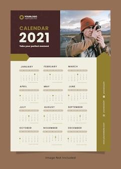 Modelo de design de calendário de parede para fotografia