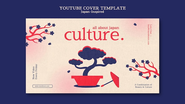 Modelo de design de capa do youtube inspirado no japão