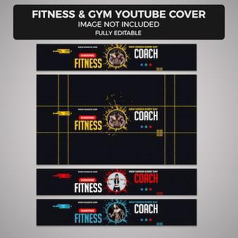Modelo de design de capa ou cabeçalho do youtube de fitness e ginásio, tamanhos diferentes