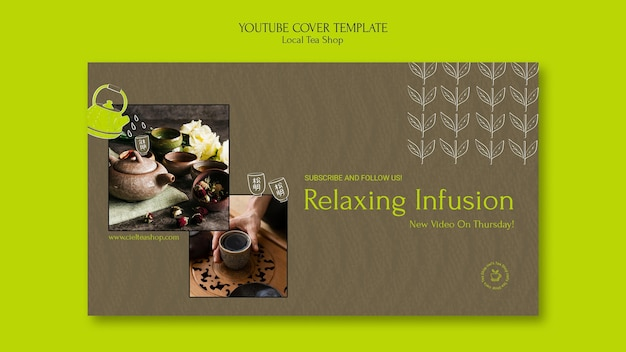 Modelo de design de capa para loja de chá local no youtube