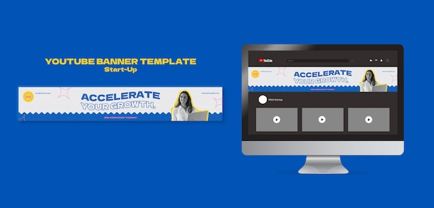 Modelo de design de cartão de banner inicial do youtube