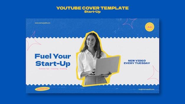 Modelo de design de cartão de capa do youtube de inicialização