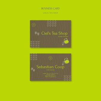 Modelo de design de cartão de visita para loja de chá local