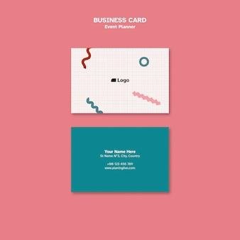 Modelo de design de cartão de visita para planejador de eventos