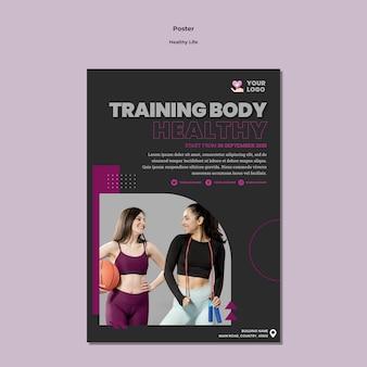 Modelo de design de cartaz de vida saudável