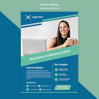 Modelo de design de cartaz para evento de negócios