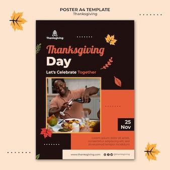 Modelo de design de cartaz para o dia de ação de graças