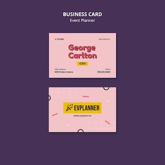 Modelo de design de cartões de visita para planejador de eventos