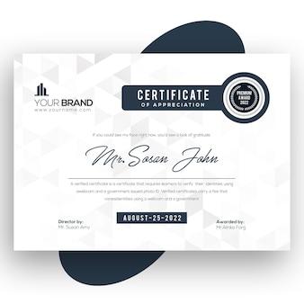 Modelo de design de certificado de formas de quadrado azul escuro