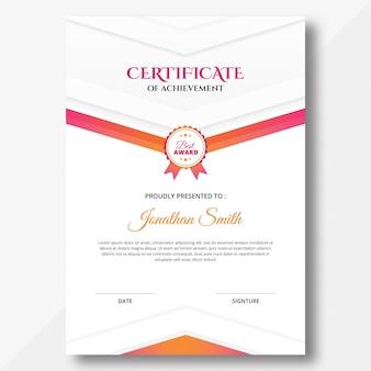 Modelo de design de certificado de formas geométricas verticais coloridas em rosa e laranja
