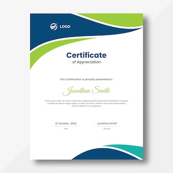 Modelo de design de certificado de ondas azuis e verdes verticais