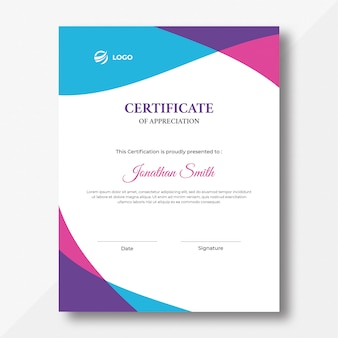 Modelo de design de certificado de ondas verticais coloridas de azul, rosa e roxo