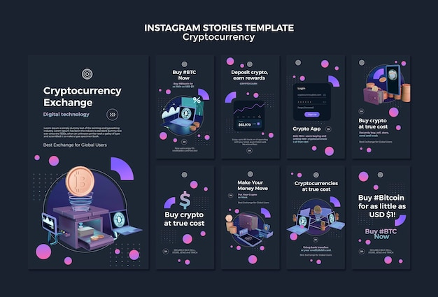 Modelo de design de criptomoeda de histórias do instagram