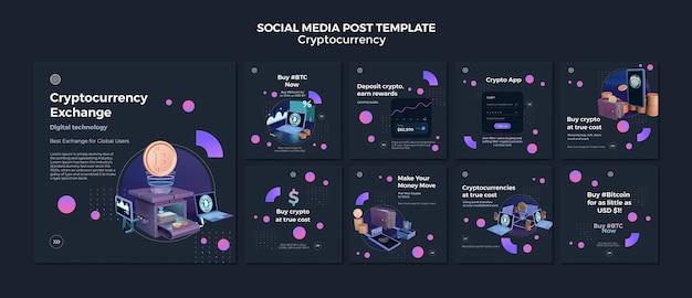 Modelo de design de criptomoeda de postagem em mídia social
