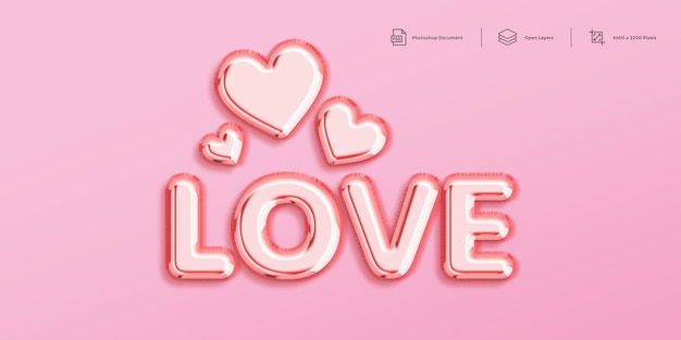 Modelo de design de efeito de texto de amor