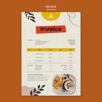 Modelo de design de fatura de comida indiana