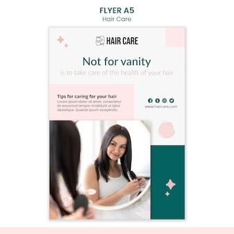 Modelo de design de folheto com técnicas de cuidados com os cabelos