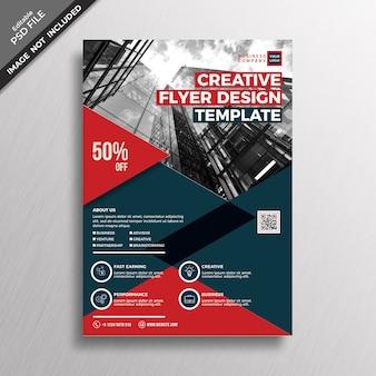 Modelo de design de folheto criativo tema vermelho e escuro