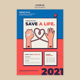 Modelo de design de folheto de doação de sangue