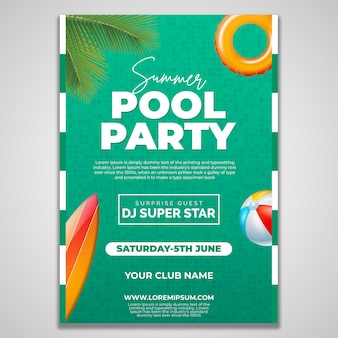 Modelo de design de folheto de festa na piscina de verão