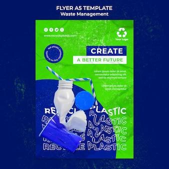Modelo de design de folheto de gerenciamento de resíduos