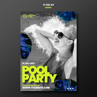 Modelo de design de folheto de música para festa na piscina