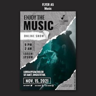 Modelo de design de folheto de música