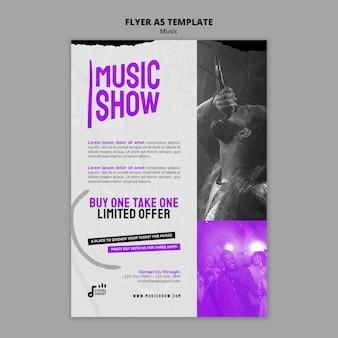 Modelo de design de folheto de show de música