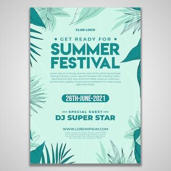 Modelo de design de folheto do festival de verão