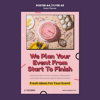 Modelo de design de folheto para planejador de eventos
