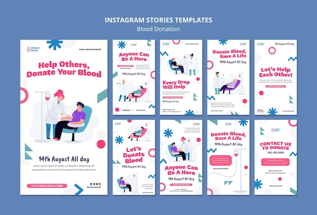 Modelo de design de história de doação de sangue para instagram