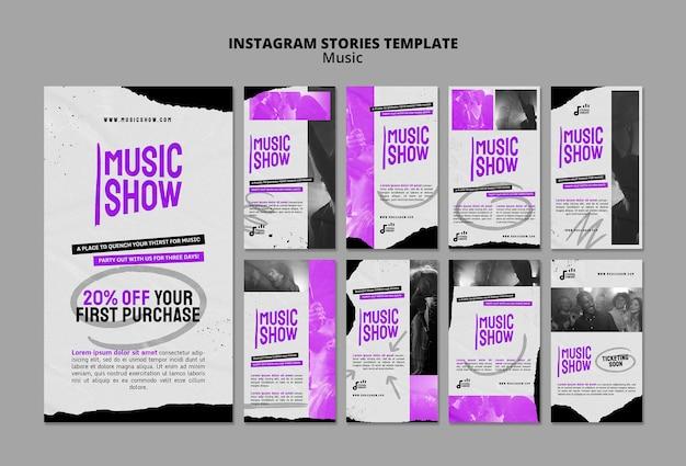 Modelo de design de história de show de música