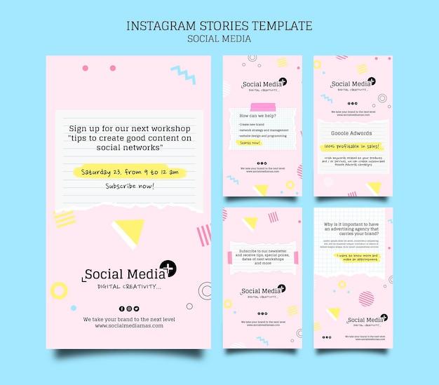 Modelo de design de história insta agência de marketing de mídia social