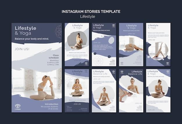 Modelo de design de história insta de estilo de vida de ioga