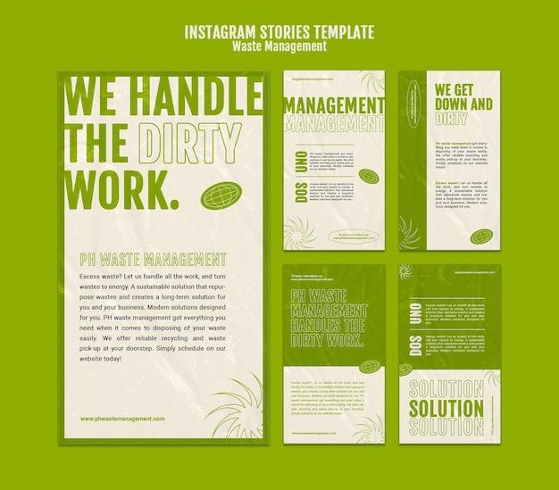 Modelo de design de história insta de gestão de resíduos