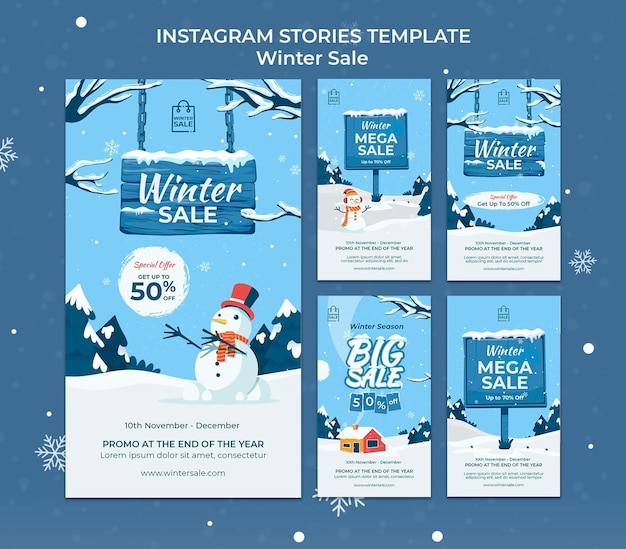 Modelo de design de história insta de venda de inverno