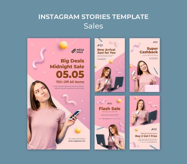 Modelo de design de história instagram de venda