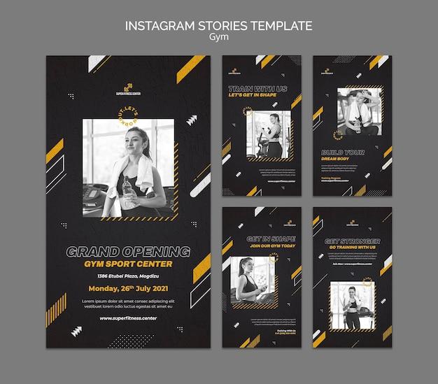 Modelo de design de histórias de instagram para academia