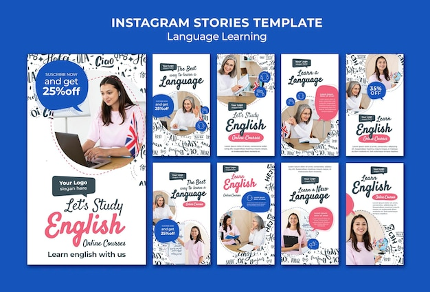 Modelo de design de histórias de instagram para aprendizagem de línguas